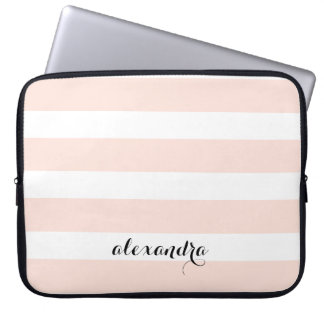 Blush Pink and White Stripes | Name in Calligraphy Computer Sleeve