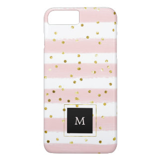 Blush Pink and White Watercolor Stripes with Gold iPhone 8 Plus/7 Plus Case