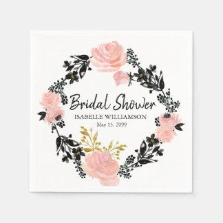 Blush Pink, Black and Gold Floral Bridal Shower Paper Napkin