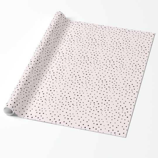 Blush Pink & Black Confetti Dots Wrapping Paper