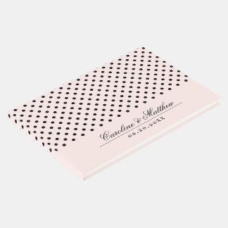 Blush Pink   Black Dots Wedding Guest Books