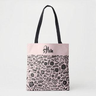 Blush Pink, Black Floral Pattern Monogram Tote Bag