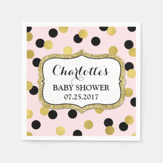 Blush Pink Black Gold Confetti Baby Shower Disposable Napkins