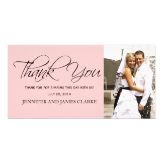 Blush Pink Black Wedding Thank You Photo Cards