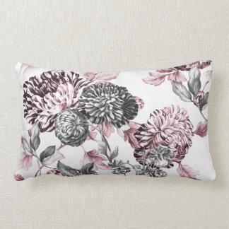 Blush Pink Black & White Botanical Toile Lumbar Pillow