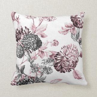 Blush Pink Black & White Botanical Toile Throw Pillow