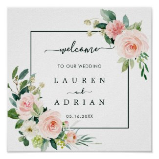 Blush Pink Bloom Wedding Welcome Square Sign