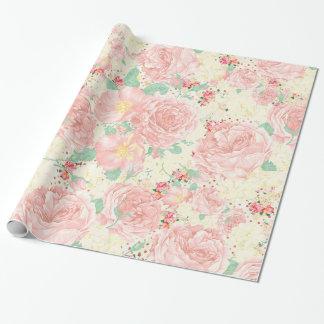 Blush pink bohemian vintage flowers pastel roses wrapping paper