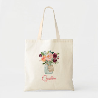 Blush Pink Burgundy Floral Mason Jar Tote Bag