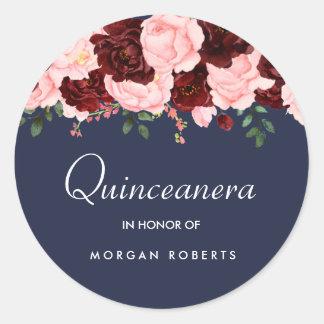 Blush Pink Burgundy Floral Navy Blue Quinceanera Classic Round Sticker