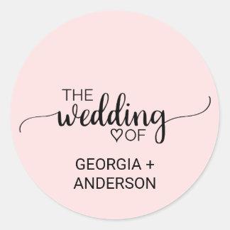 Blush Pink Calligraphy Wedding Envelope Seal