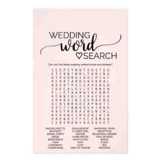 Blush Pink Calligraphy Wedding Word Search Game Flyer Design