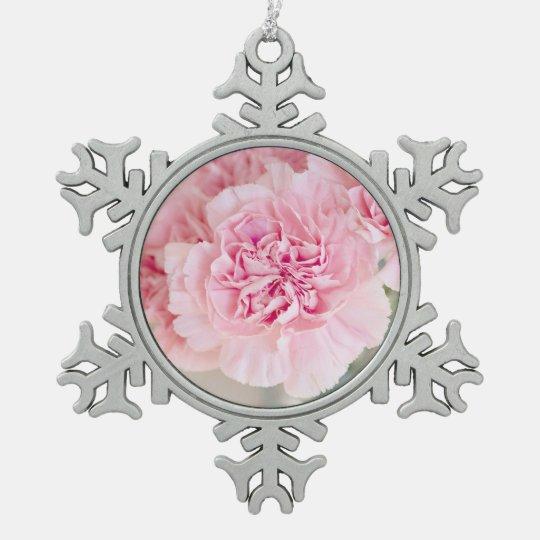 Blush Pink Carnations Pewter Snowflake Ornament