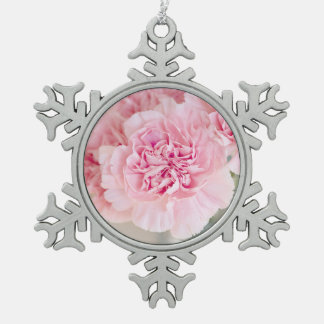 Blush Pink Carnations Snowflake Pewter Christmas Ornament