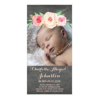 Blush Pink Chalkboard Thank You Baby Shower Photo Greeting Card
