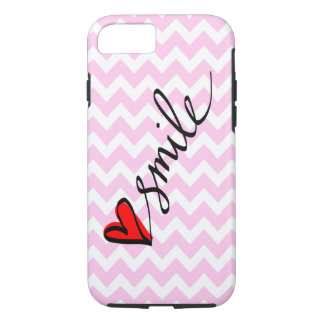 Blush Pink Chevron Smile Typography Cute Heart iPhone 7 Case