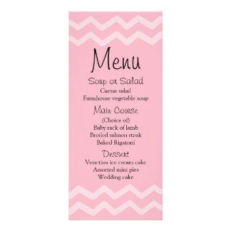 Blush Pink Chevron Stripes Menu Wedding Party