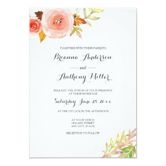 Blush pink coral Watercolor Floral Wedding 3605b Card
