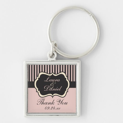 Blush Pink, Cream, and Gray Striped Thank You Key Chains