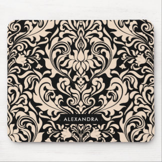Blush Pink Damask on Black Mouse Pad