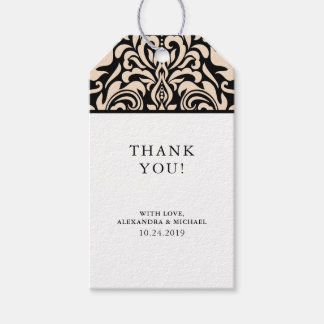 Blush Pink Damask on Black Wedding Favor Gift Tags