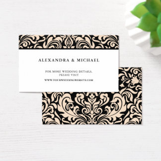 Blush Pink Damask on Black Wedding Website Cards