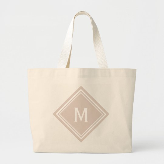 Blush Pink Diamond Monogram Large Tote Bag