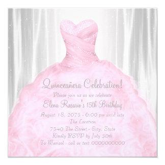 "Blush Pink Dress Elegant Pink Quinceañera 5.25"" Square Invitation Card"