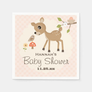BLush Pink Egg Woodland Deer Baby Shower Disposable Napkins