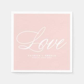 Blush Pink Elegant Script   Love Wedding Paper Napkins