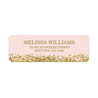 Blush Pink Faux Gold Glitter Return Address Label