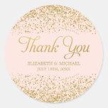 Blush Pink Faux Gold Glitter Wedding Thank You Round Sticker
