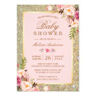 Blush Pink Floral Gold Sparkles Baby Shower Card