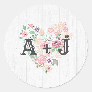 Blush Pink Floral Heart Modern Monogram Wedding Classic Round Sticker