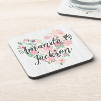 Blush Pink Floral Heart Modern Wedding Monogram Coaster