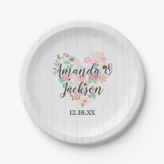 Blush Pink Floral Heart Modern Wedding Monogram Paper Plate