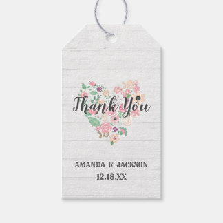 Blush Pink Floral Heart Modern Wedding Thank You Gift Tags