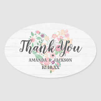 Blush Pink Floral Heart Modern Wedding Thank You Oval Sticker