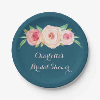 Blush Pink Floral Navy Blue Bridal Shower Plate