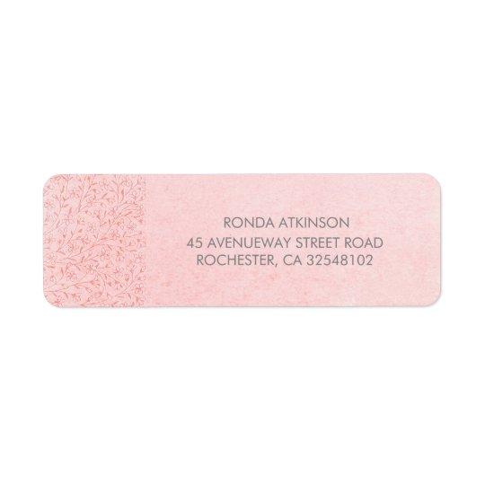 Blush Pink Floral Vintage Wedding Return Address Label