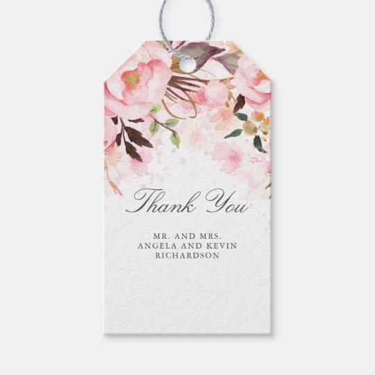 Blush Pink Floral Watercolor Gift Tags