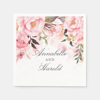 Blush Pink Floral Wedding Disposable Napkin