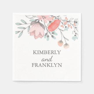 blush pink floral wedding paper napkins