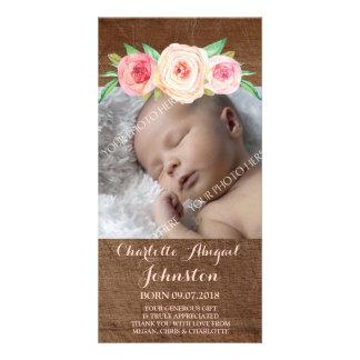 Blush Pink Flowers Wood Thank You Baby Shower Custom Photo Card