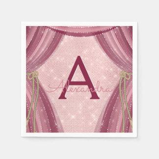 Blush Pink, Gold and Burgundy Girl's Birthday Napkin