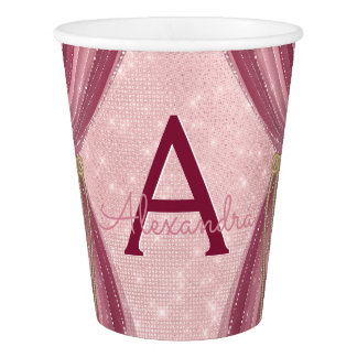 Blush Pink, Gold and Burgundy Girl's Birthday Paper Cup