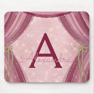 Blush Pink, Gold and Burgundy Girl's Monogram Mouse Pad