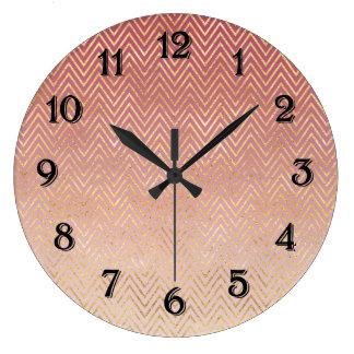 Blush Pink Gold Chevron Ombre Large Clock