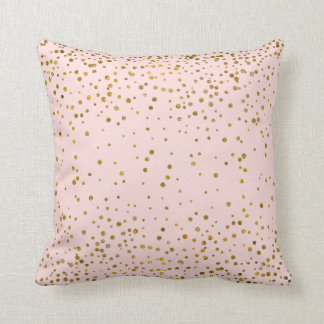 Blush Pink Gold Confetti Dots | Rose Quartz Chic Throw Pillow