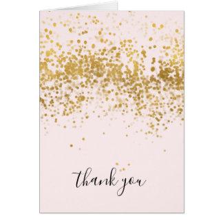 Blush Pink Gold Confetti Dots Thank you Card
